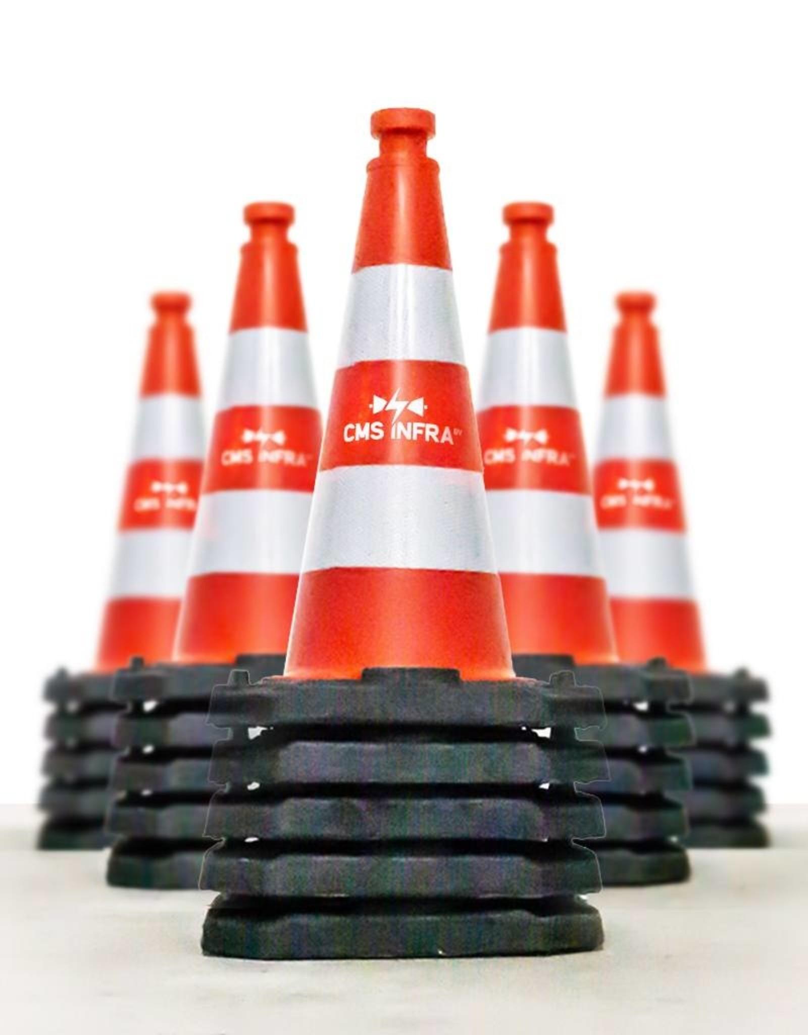 Verkeerswinkel.nl | Verkeerskegel 50cm, Reflecterend Folie, Klasse 2 + Bedrijfslogo, 25 Stuks Actieprijs