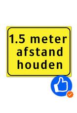 Verkeerswinkel.nl | Bord afstand houden met 1,5 meter tekst