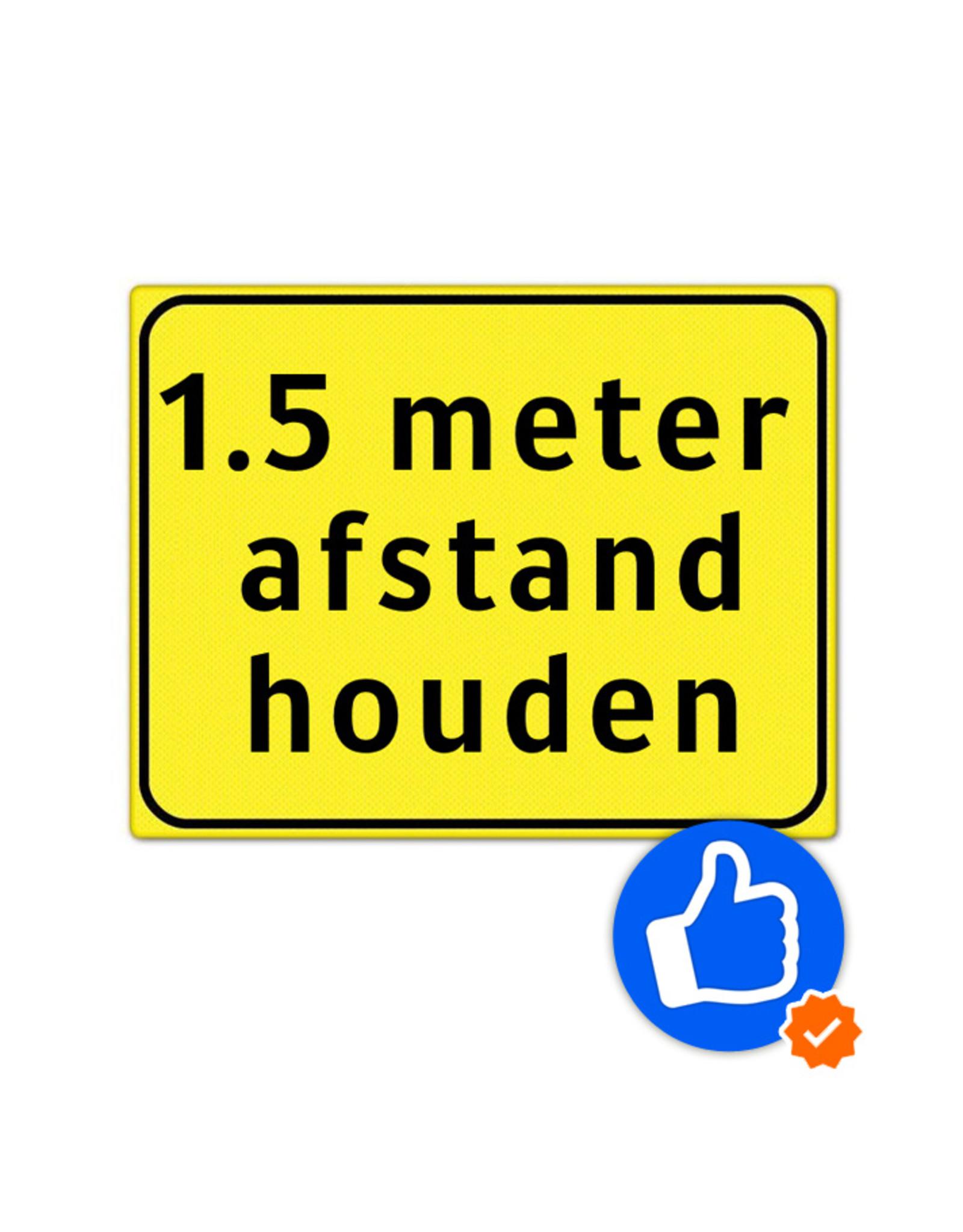Verkeerswinkel   Bord afstand houden met 1,5 meter tekst