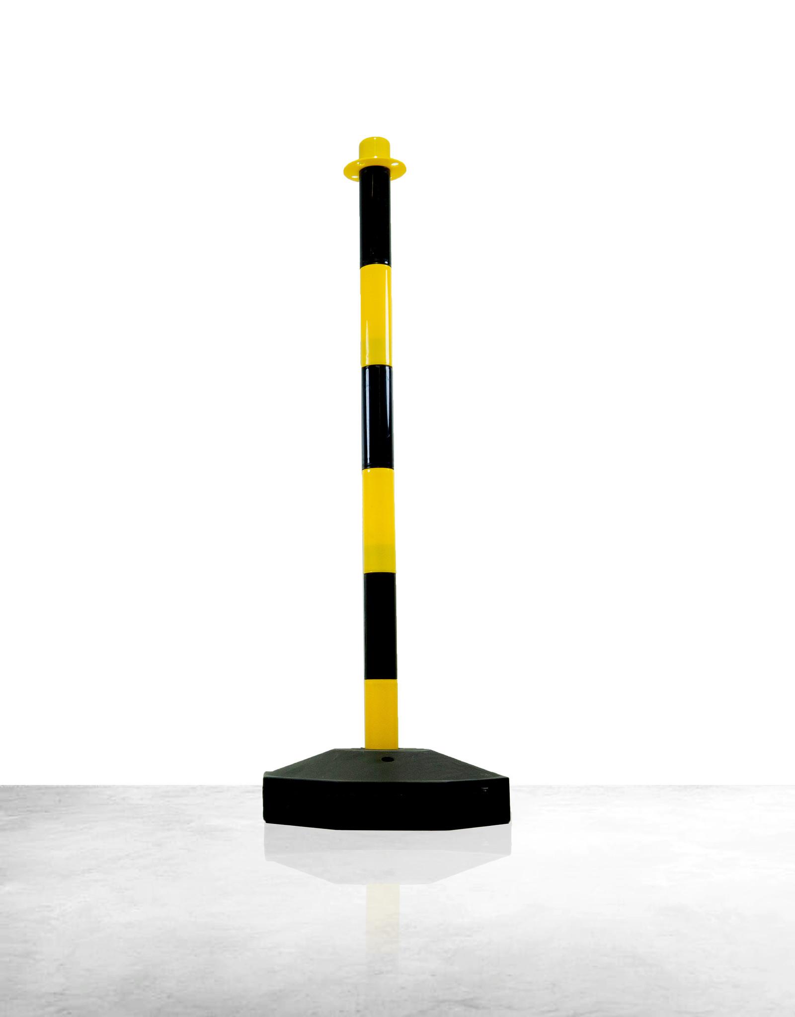 Ri-Traffic | Afzet Kettingpaal Zwart Geel met op te vullen Voet