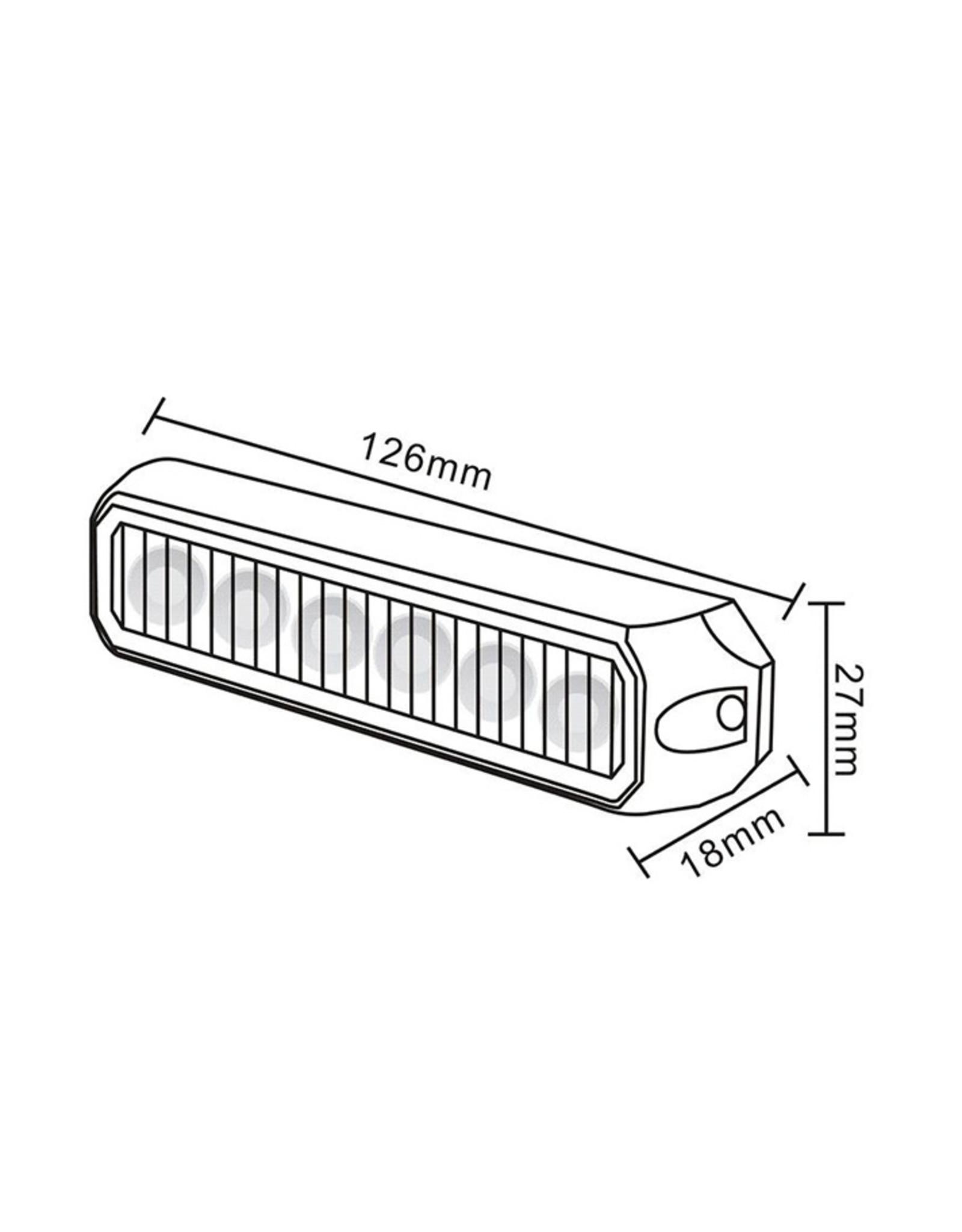 Ri-Traffic | LED Flitser 6 LED uitvoering Amber | 12-24v