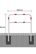 Ri-Traffic   Fietssluis Staal, Rood-Wit, 250 cm x 140 cm (LANG/GROOT)