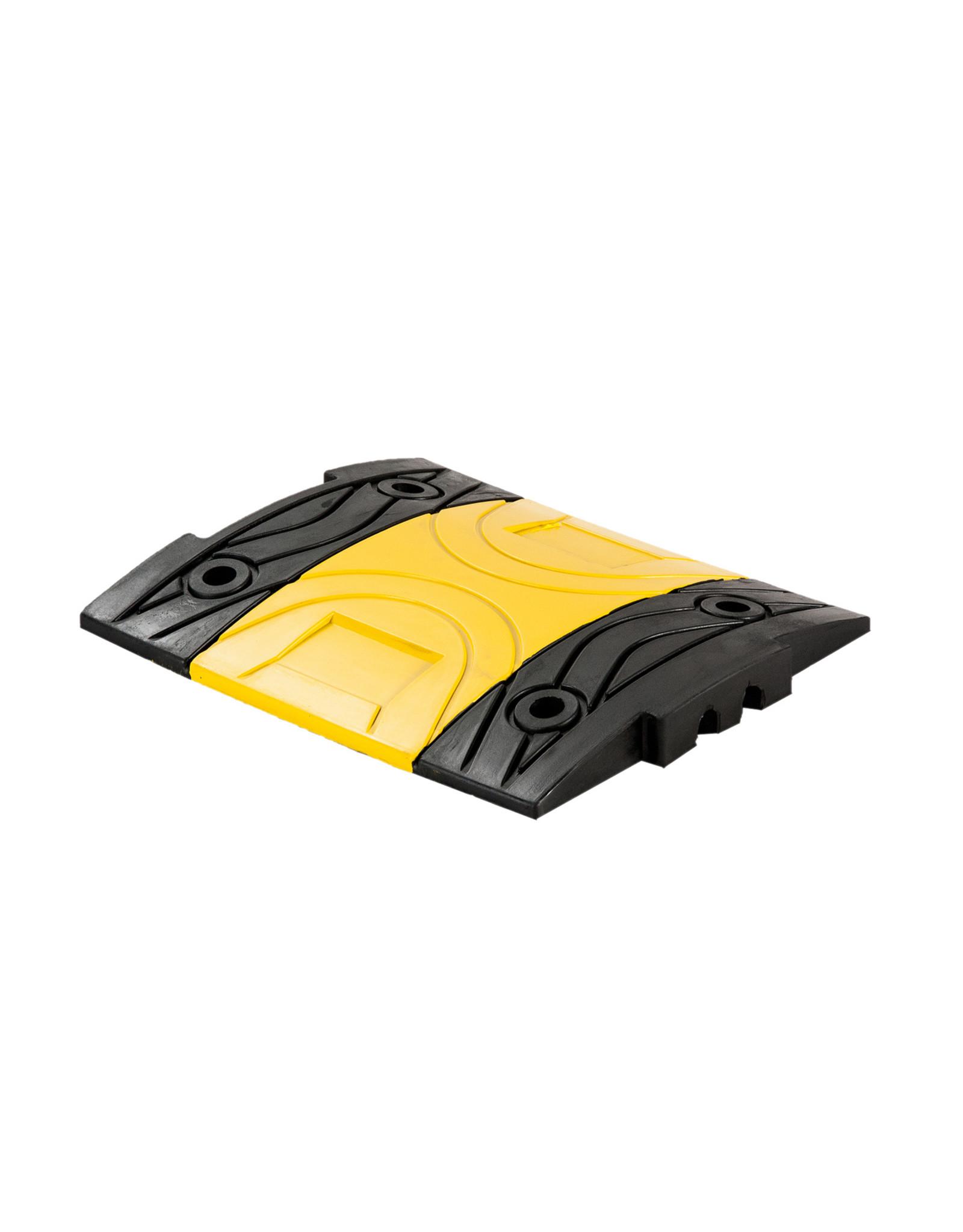 Ri-Traffic | Verkeersdrempel 5cm hoog, middenelement, zwart met geel, rubber