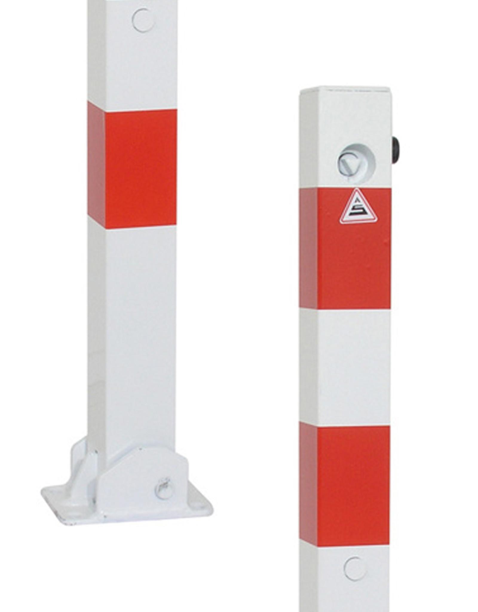 Ri-Traffic   Klappaal parkeerpaal met driekantslot, rood-wit