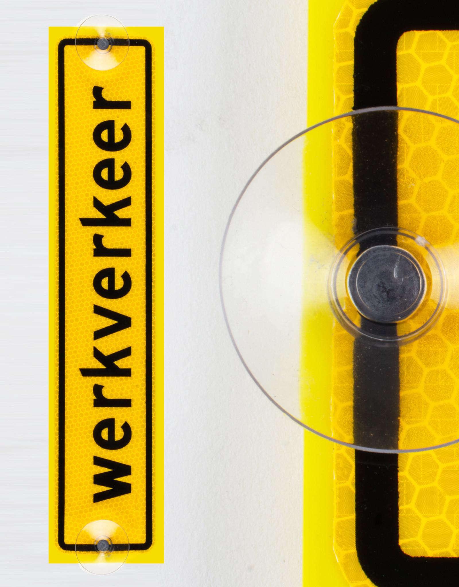 Ri-Traffic | Werkverkeer Bordje 40cm x 8cm - GEEL - Klasse 3 Folie