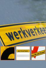 Ri-Traffic | Werkverkeer Sticker 40cm x 8cm - GEEL - Klasse 3 Folie