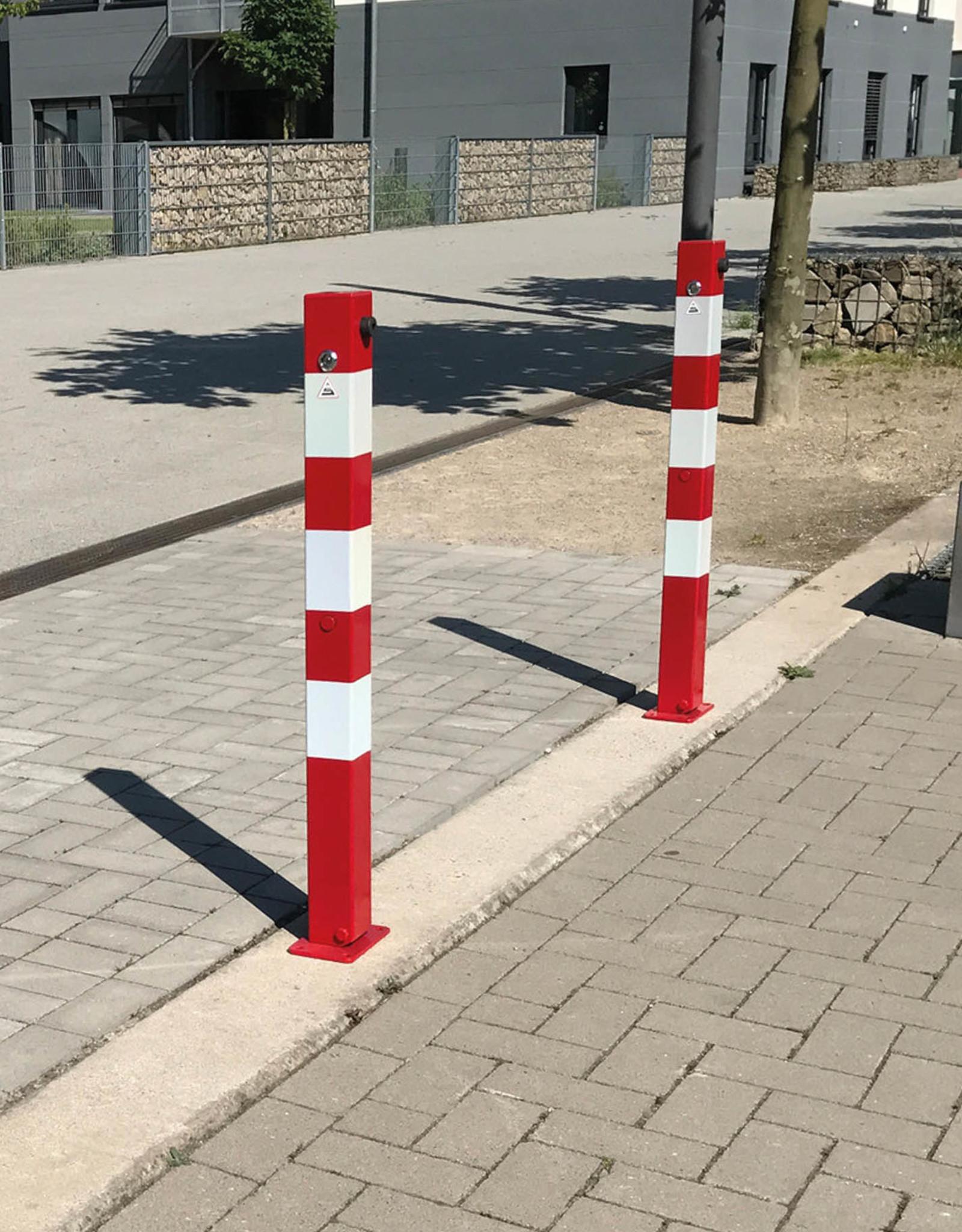 Ri-Traffic | Parkeerpaal Neerklapbaar 90cm hoog en 70mm x 70mm breed (ROOD/WIT)