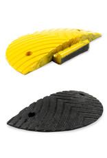 Ri-Traffic | Verkeersdrempel 5cm hoog, eindelement, zwart-geel, robuust kunststof