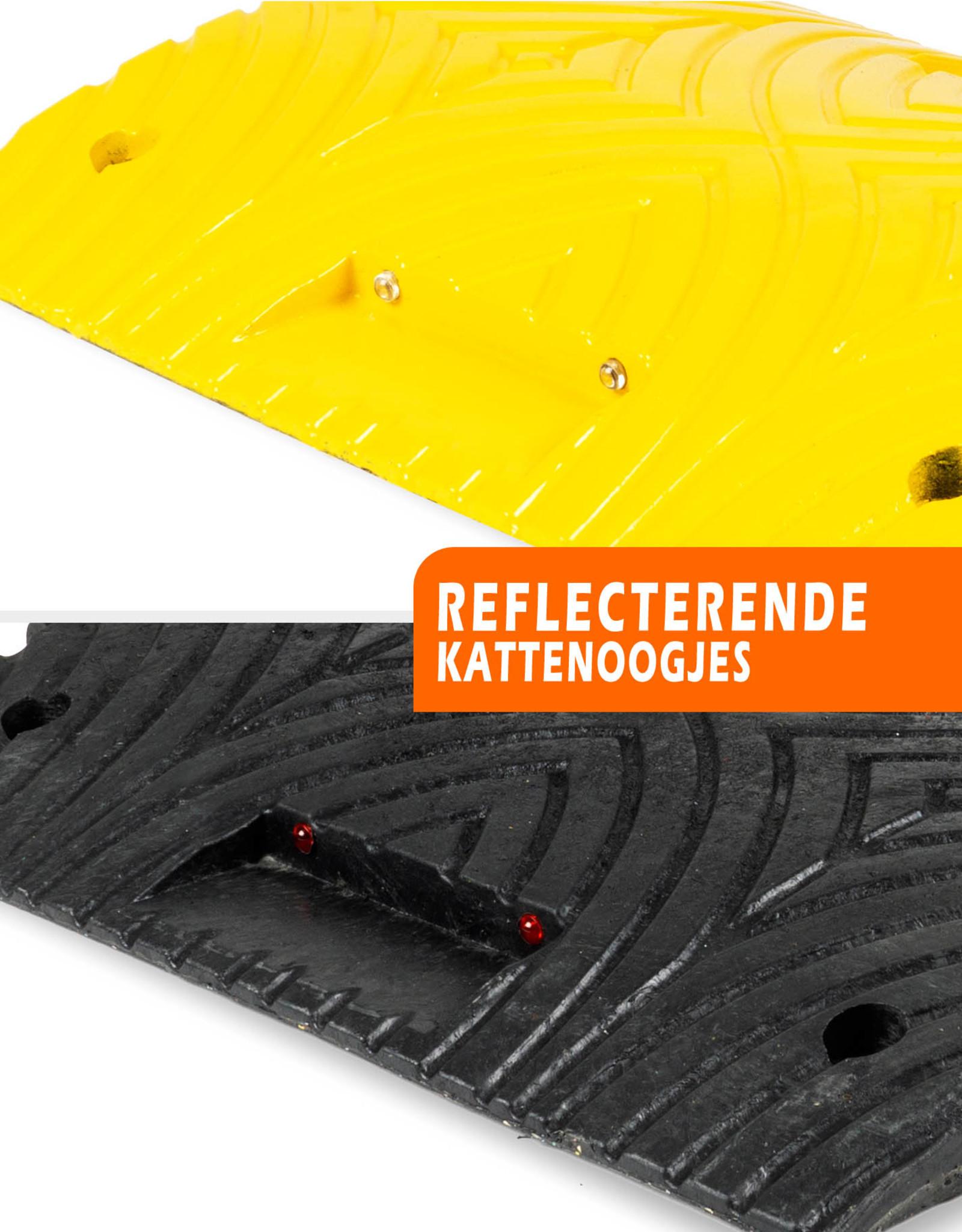 """Ri-Traffic   Complete Verkeersdrempel, Zwart-Geel, 5 cm hoog, type """"slowly"""", diverse lengtes"""