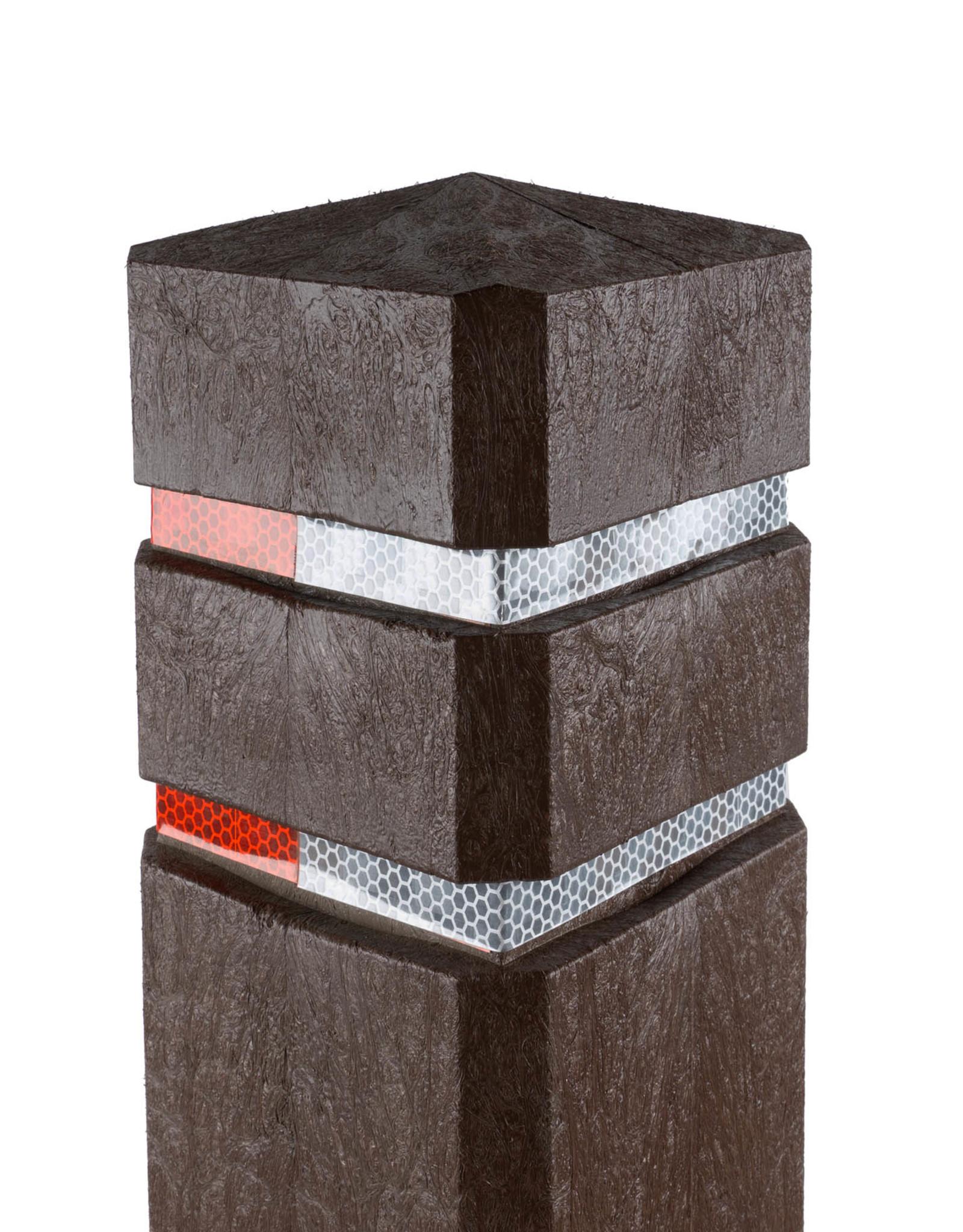 Ri-Traffic   Diamantkoppaal Kunststof Bruin / Anti Parkeerpaal / Trottoirpaal / Reflectorpaal