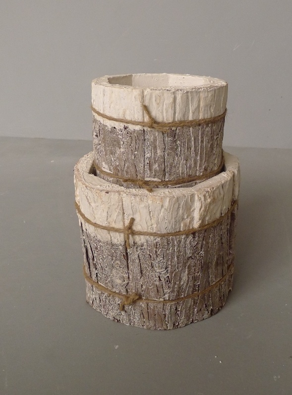 pot bark cyl white set/2-2