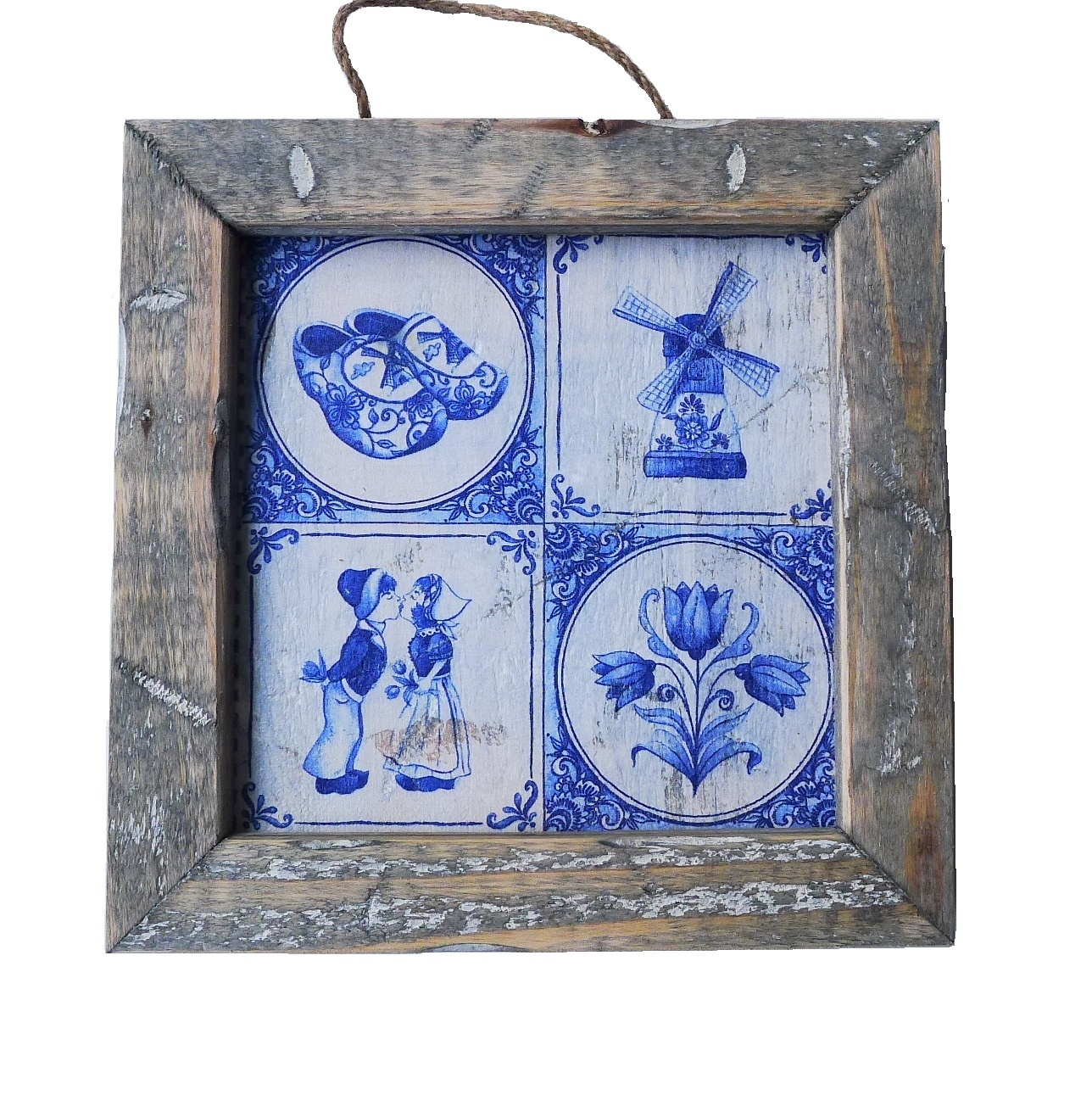 wooden tile old dutch delft 4  tile in-1