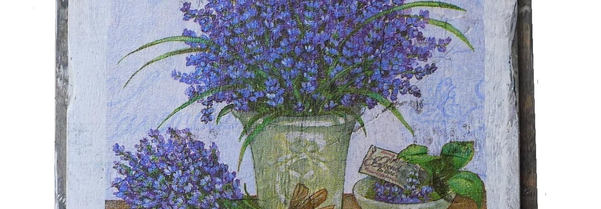 wooden tile old dutch delft lavend pot out