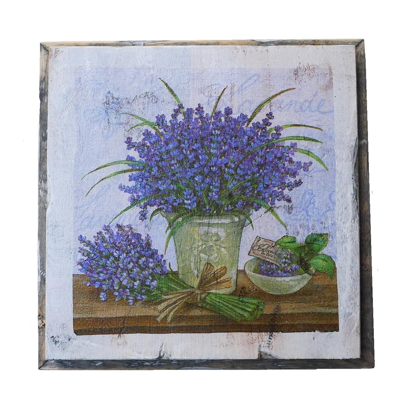 wooden tile old dutch delft lavend pot out-1