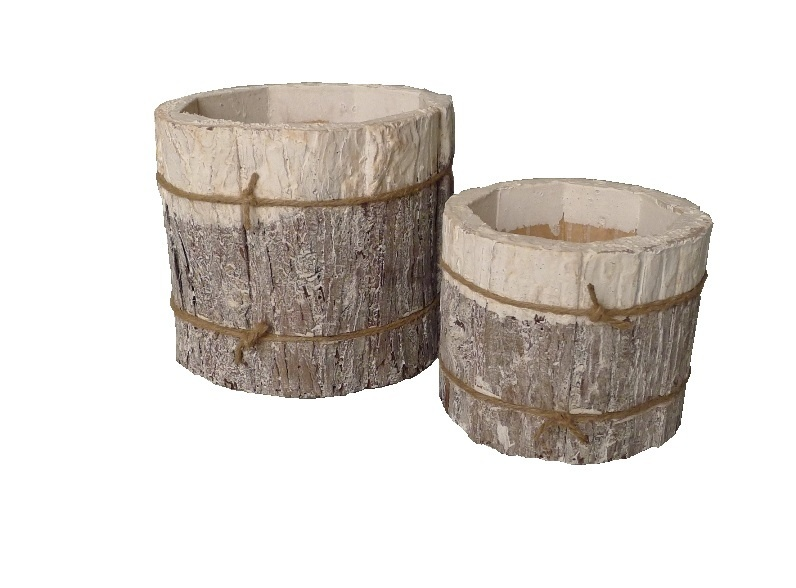 pot bark cyl white set/2-4