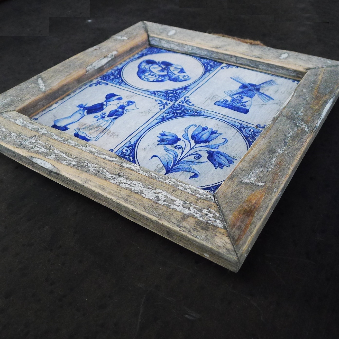 wooden tile old dutch delft 4  tile in-4