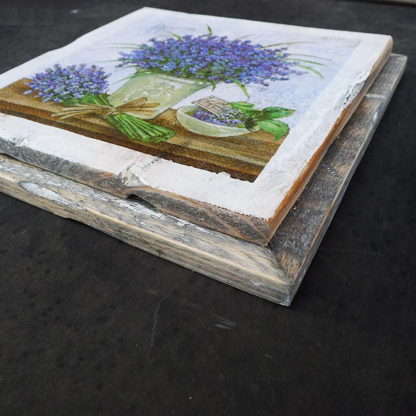 wooden tile old dutch delft lavend pot out-4