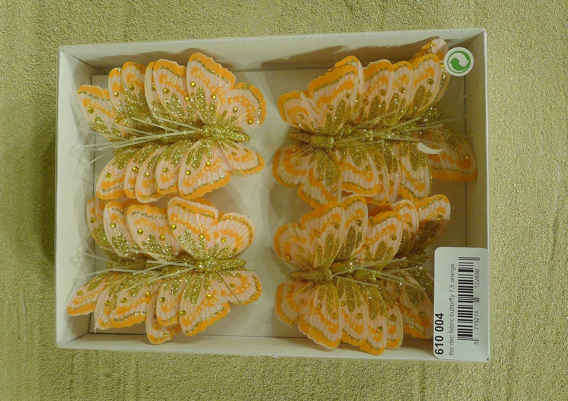 flor dec fabric butterfly 7.5 orange-10