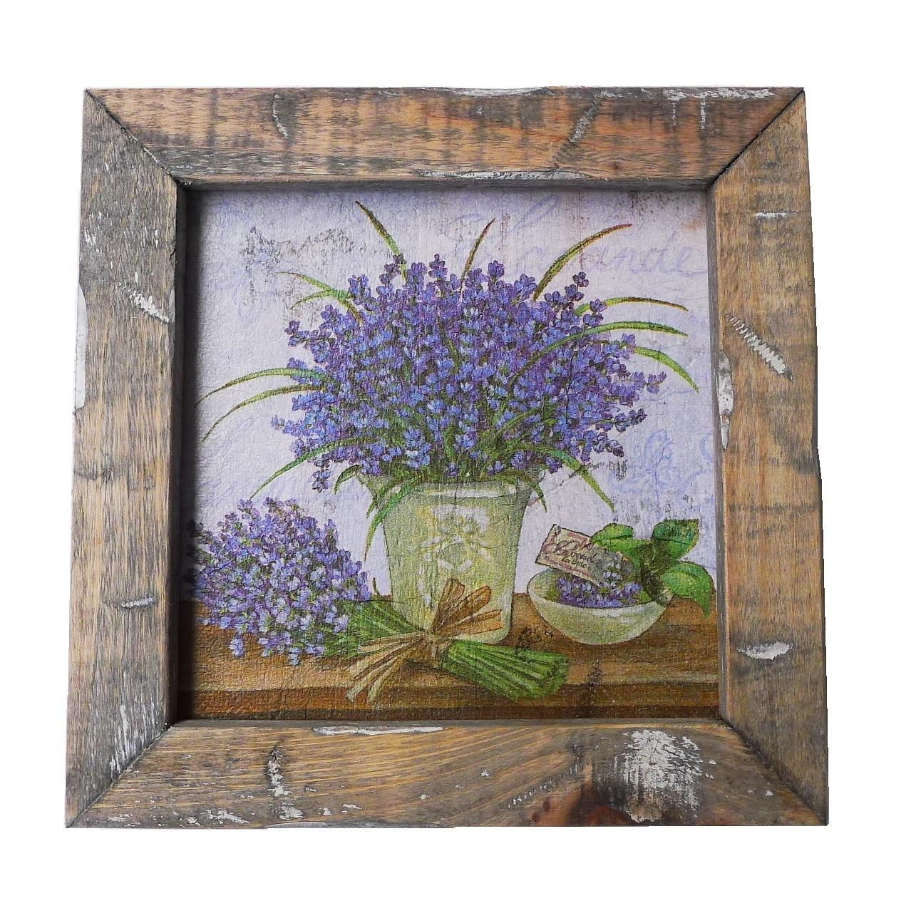 wooden tile old dutch delft lavend pot in-4