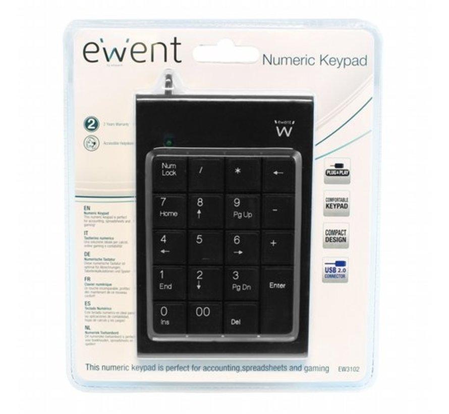 EW3102 numeriek toetsenbord USB PC/server Zwart