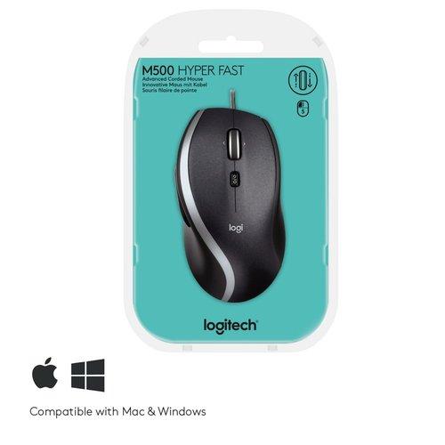 Logitech Ret. Mouse Optical Black M500 Ergonomisch