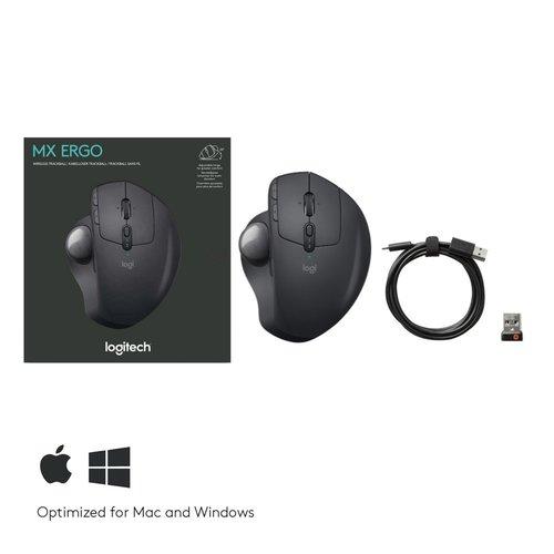 Logitech Logitech MX Ergo muis RF draadloos + Bluetooth Trackball 440 DPI Rechtshandig