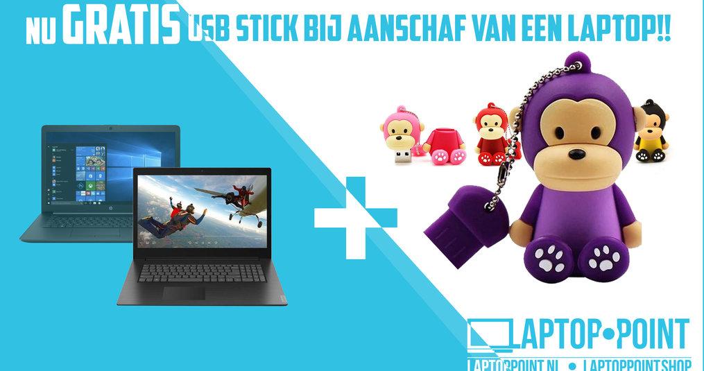 Dierendagaanbieding; Gratis aap USB stick bij aankoop van een laptop