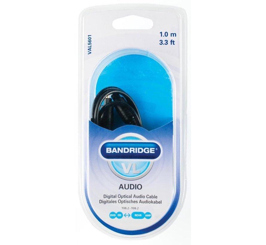 Bandridge - Digitale Optische Audiokabel TosLink Male - TosLink Male - 1 meter - Zwart