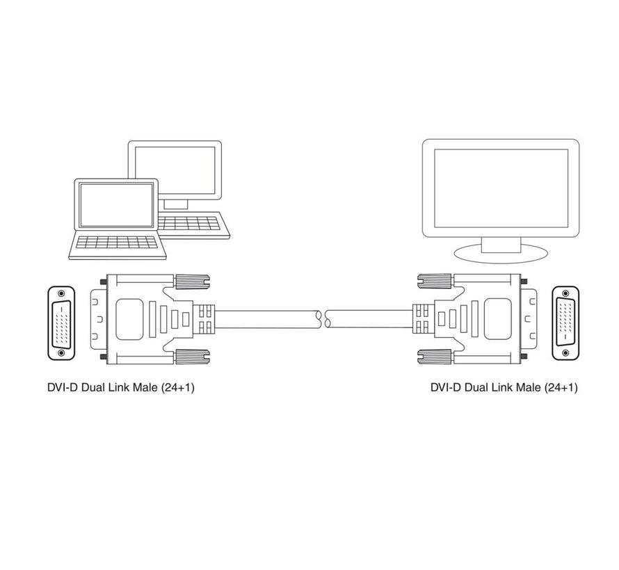 DVI-D Dual Link Connection Cable male-male 2 Meter