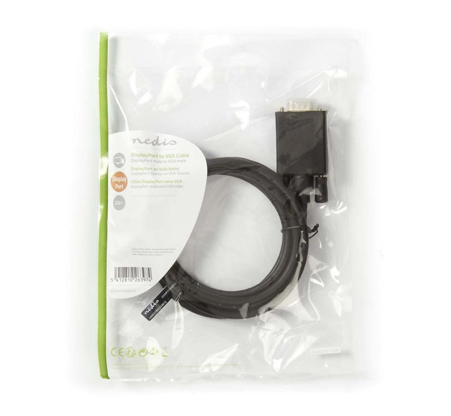 Kabel DisplayPort - VGA-DisplayPort male - VGA male 2,0m