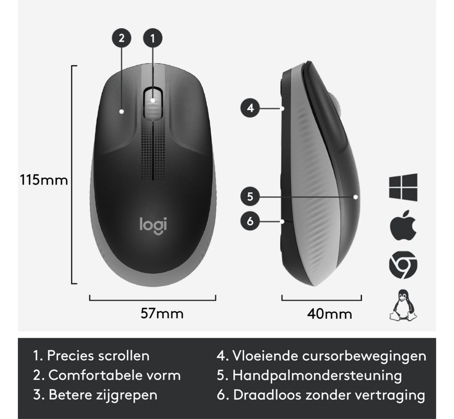 M190 wireless mouse Grey
