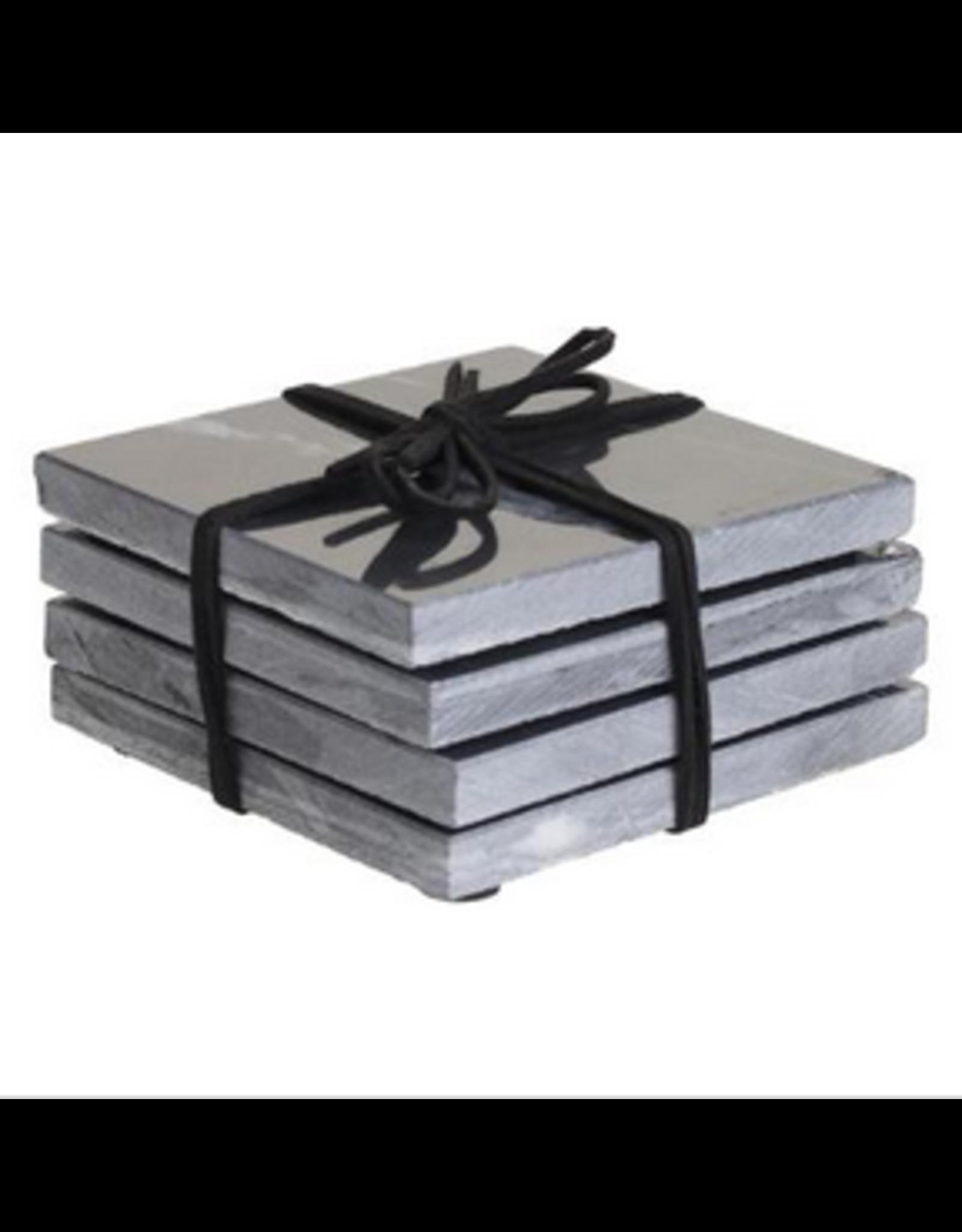 LOFT030 Marmeren onderzetters  grijs / zwart set van 4 stuks