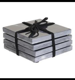 LOFT030 Marmeren onderzetters grijs/zwart  set van 4 stuks