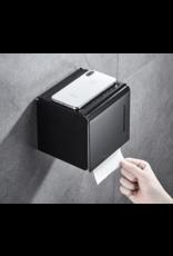 CoshX® CoshX® toiletrolhouder kubus industrieel met een legplek voor telefoon zwart - Toiletpapierhouder gesloten met klep- WC rol houder