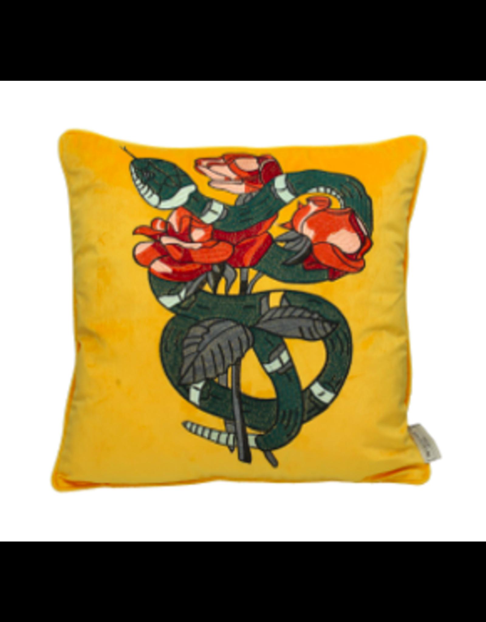 Kersten B.V. Kussen Velvet Snake Geel 45x45cm