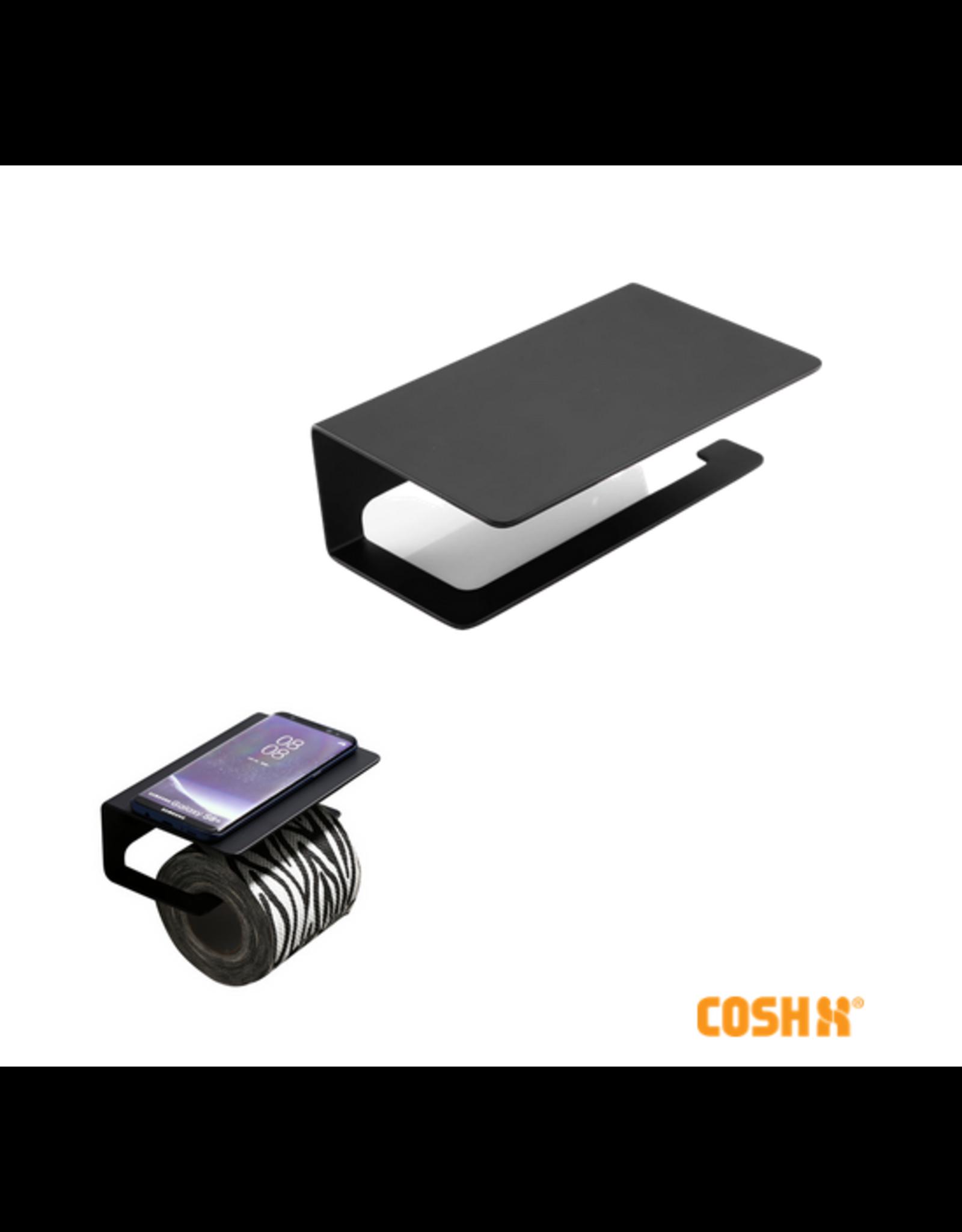 CoshX® CoshX®Toiletrolhouder industrieel met een telefoonplankje zwart - Toiletpapierhouder - WC rol houder