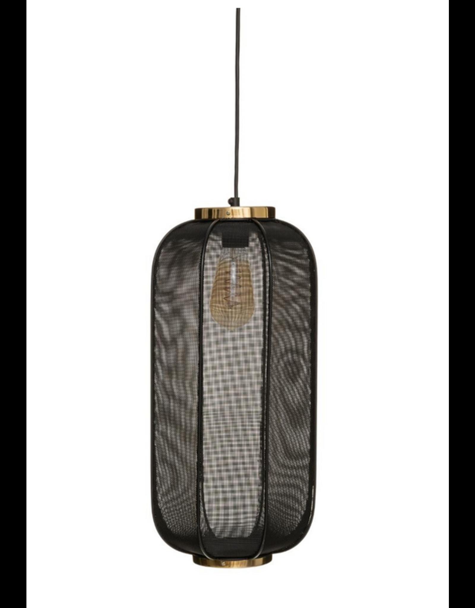 LOFT030 Hanglamp metaal mesh zwart met goud accent ø 25cm hoogte 50.5cm