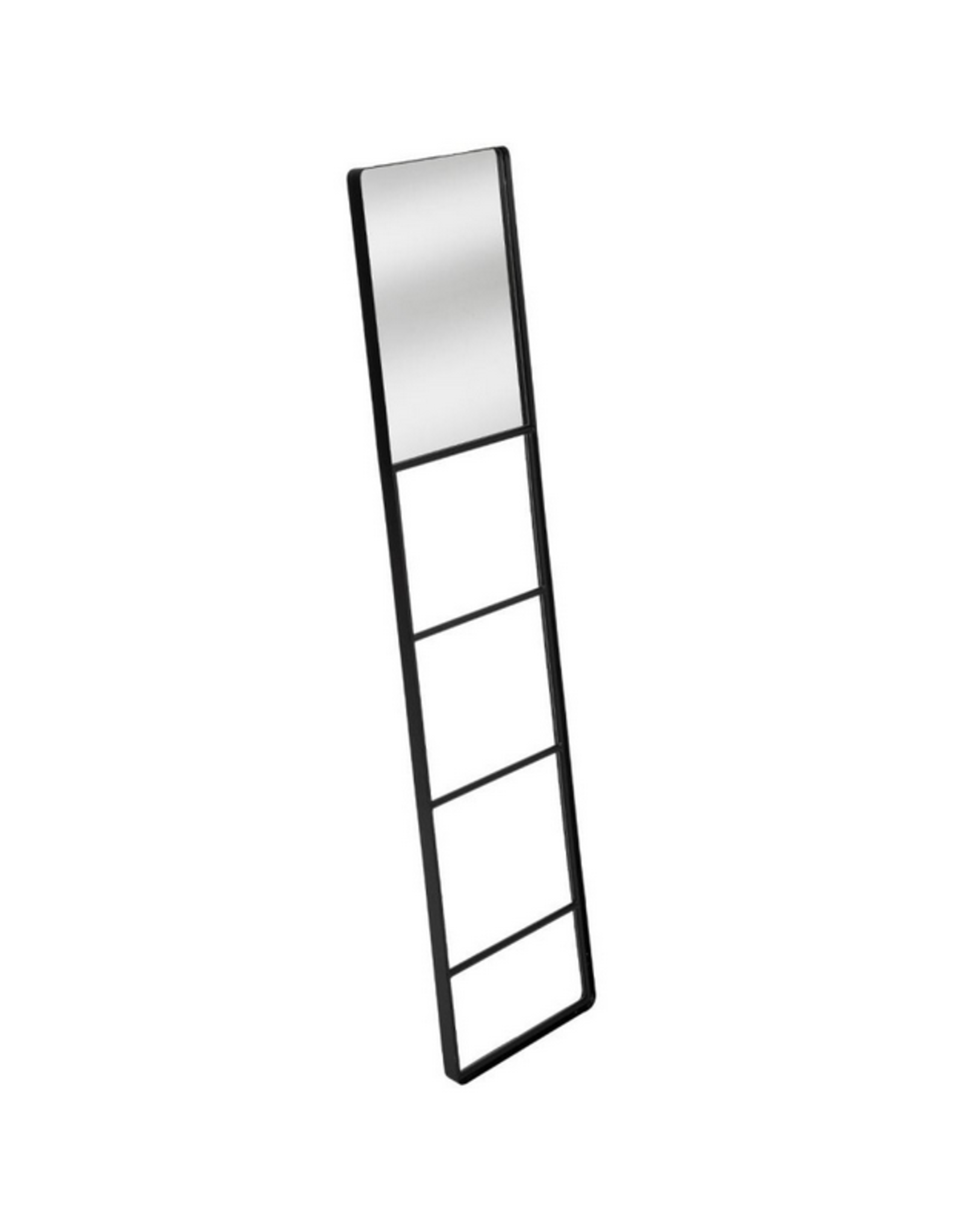LOFT030 Ladder met spiegel zwart metaal hoogte 160 cm