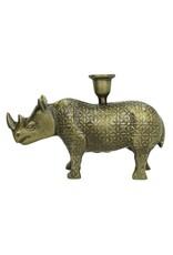 LOFT030 Kandelaar Neushoorn / Rhino kleur brons L. 24 x H.17 x B.14.5cm
