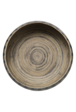 LOFT030 Gestreepte Bamboe Salade Schaal 30 cm | Zwarte strepen bruine schaal