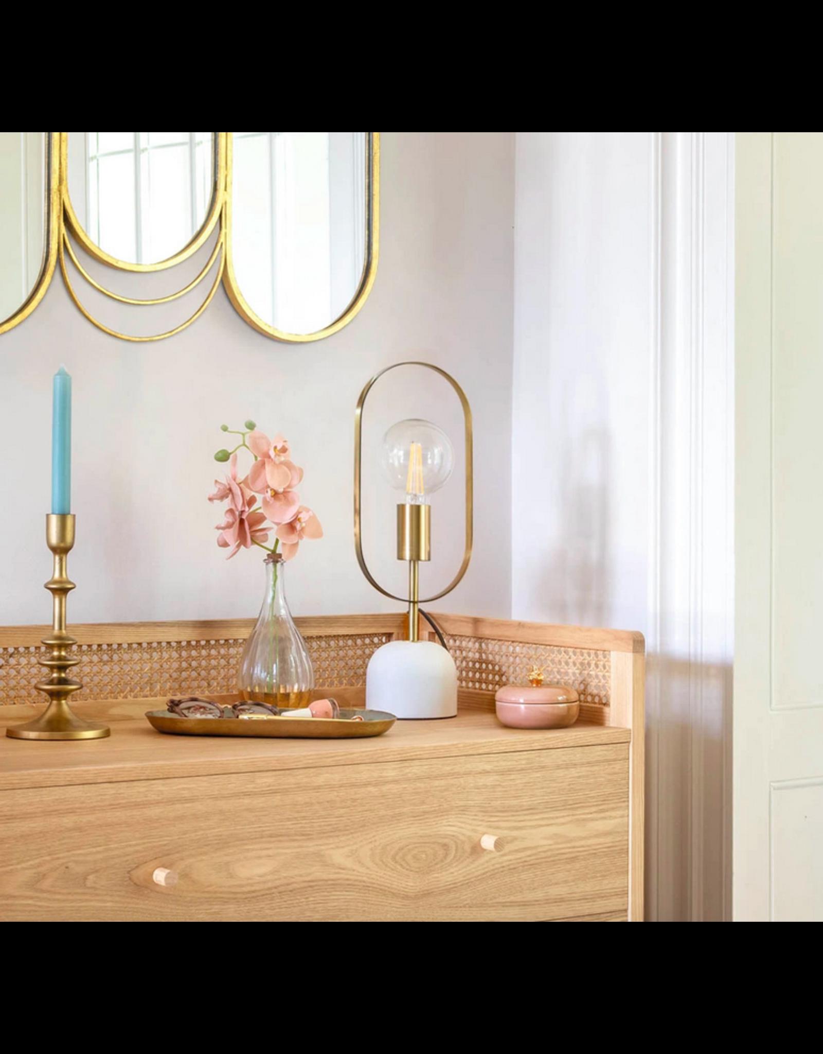 LOFT030 Tafellamp goudkleurig met grijze blauwe voet hoogte 44 cm