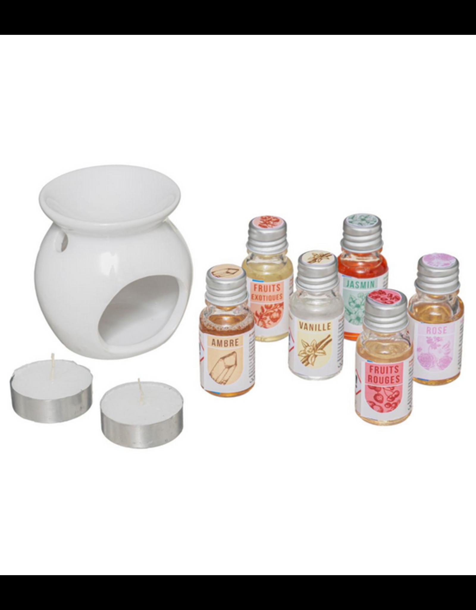 LOFT030 Oliebrander gifset | Houten Geurdoosje 1 Parfumbrander 6 Flesjes olie en 2 Kaarsen