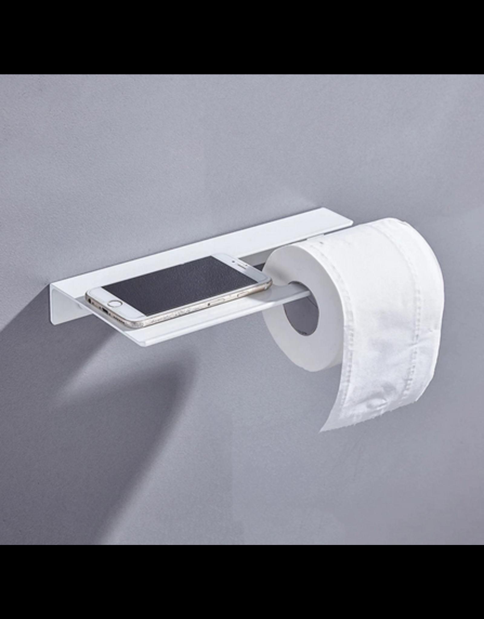 CoshX® CoshX® Toiletrolhouder met legplankje / telefoonplankje - Handoekrekje met plankje in 1 wit