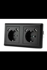 CoshX® Dubbel usb stopcontact, dubbele inbouw wanddoos usb zwart