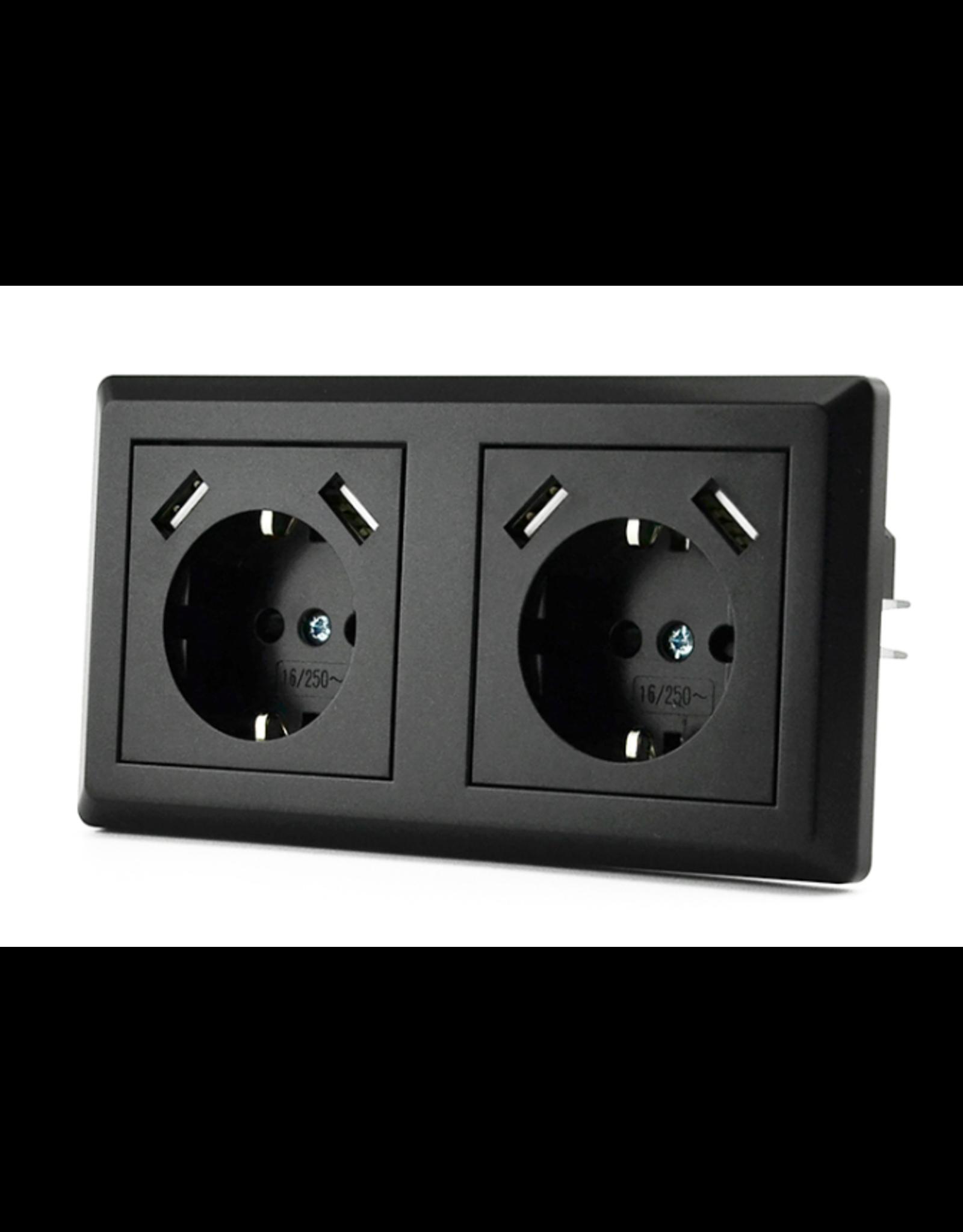 CoshX® CoshX®, dubbel usb stopcontact, dubbele inbouw wanddoos usb zwart