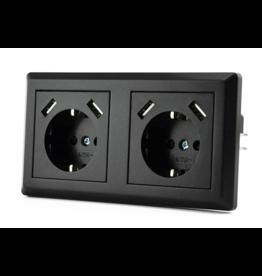 CoshX® DUBBEL USB STOPCONTACT ZWART