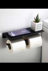 CoshX® CoshX® Dubbele Toiletpapier Houder zwart met telefoon plankje - WC Rolhouder x 2 - Toiletrolhouder voor 2 rollen