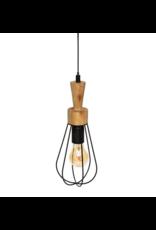 LOFT030 Tafellamp hout en draad metaal 36 cm