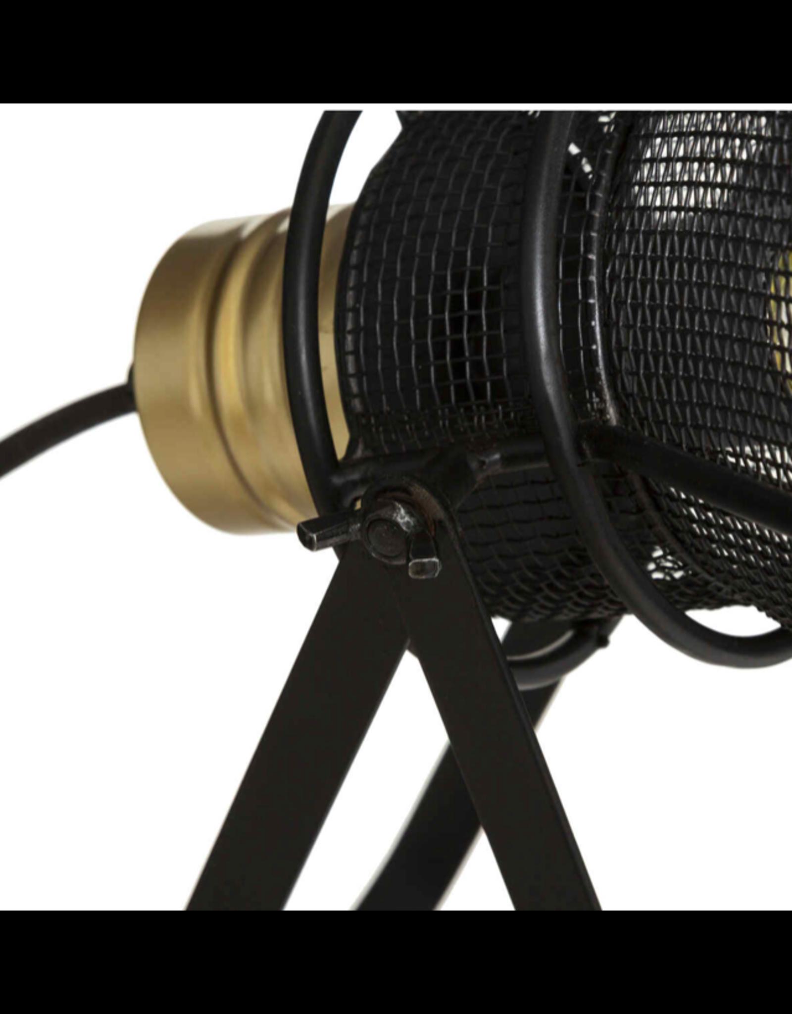 LOFT030 Tafellamp zwart metaal goud hoogte 31 cm