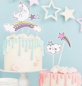 PartyDeco PartyDeco Cake Toppers Unicorn Set/5